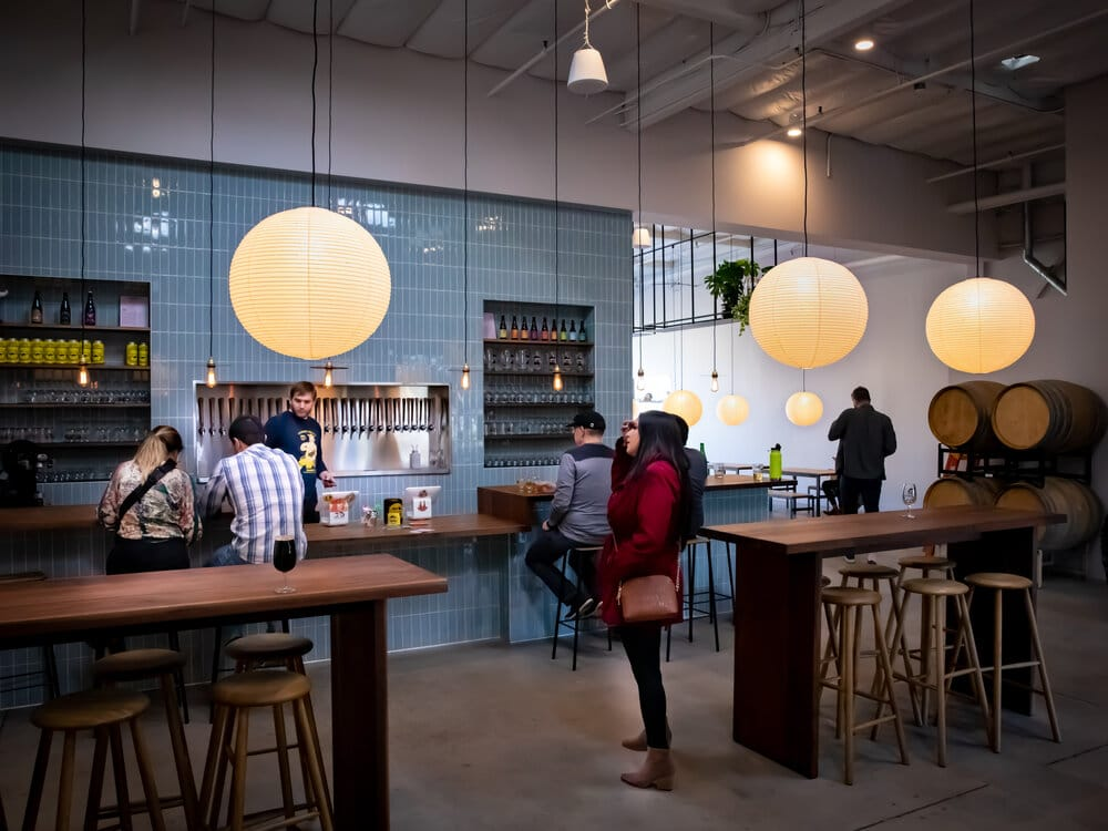 The woods are very nice. The blue-ish tile is soothing. It reminds me of an LA coffeeshop, except for the beer barrels. And a lower proportion of ultra-hipsters.