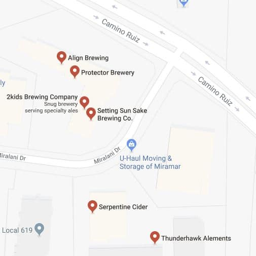 The Miralani Makers District in Miramar: Four solid craft breweries, sake, wine, spirits, cider and mead! Note that 2Kids has closed down since I originally made this map.